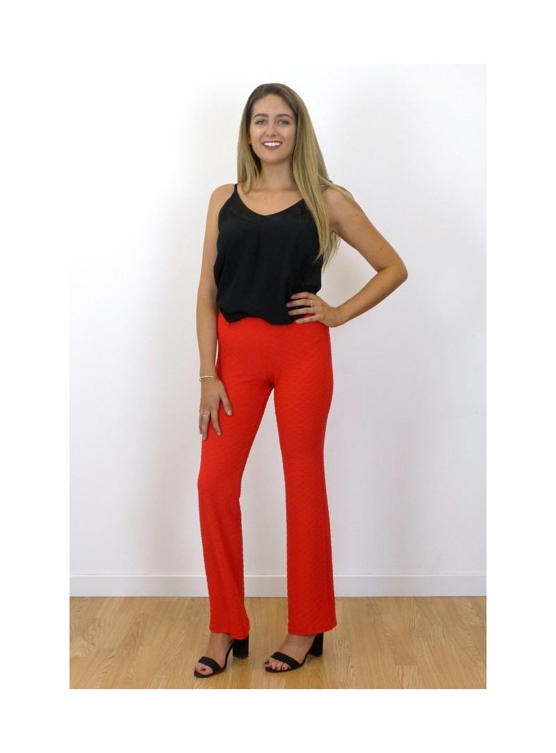 Pantalon rouge Façonné éventail