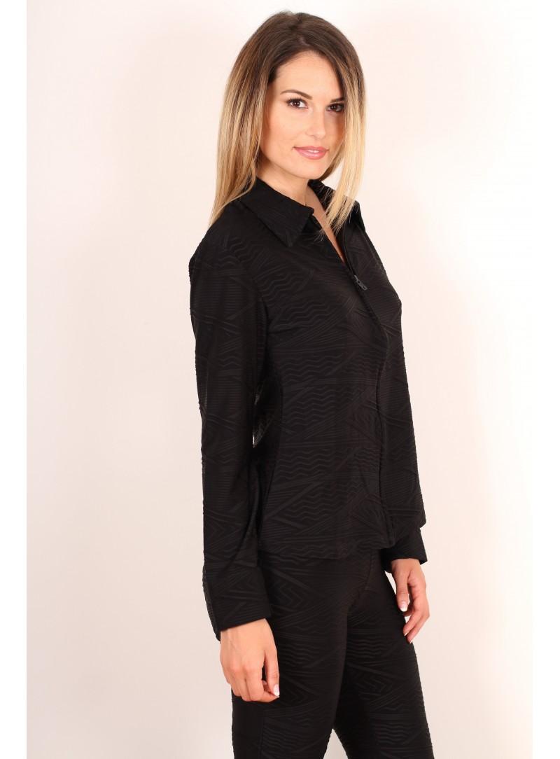 Chemise zippée Victoria - Noir façonné flash