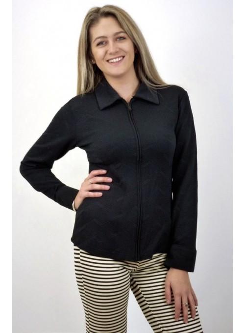 Chemise zippée Victoria - Noir façonné