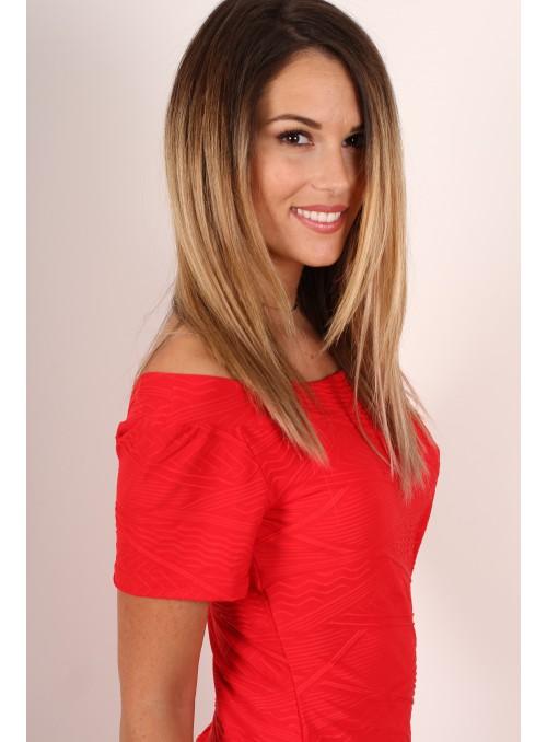 A Robe manche courte Alicia - Rouge façonné flash
