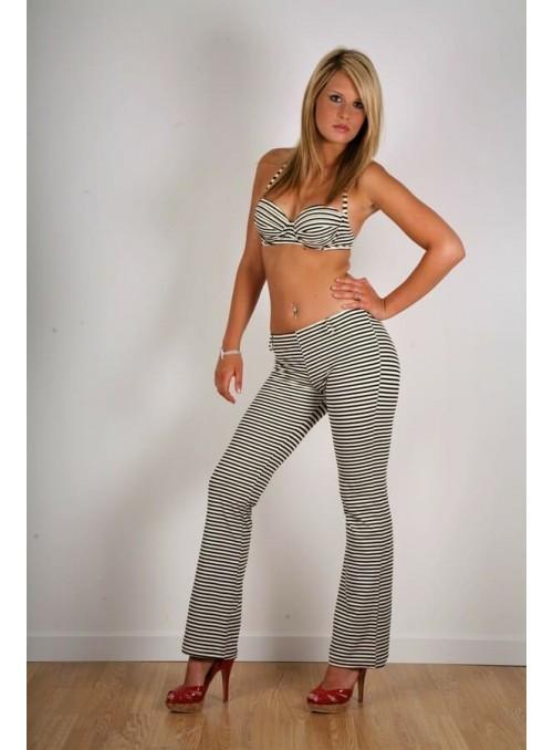Pantalon  Kim - Rayé noir et écru