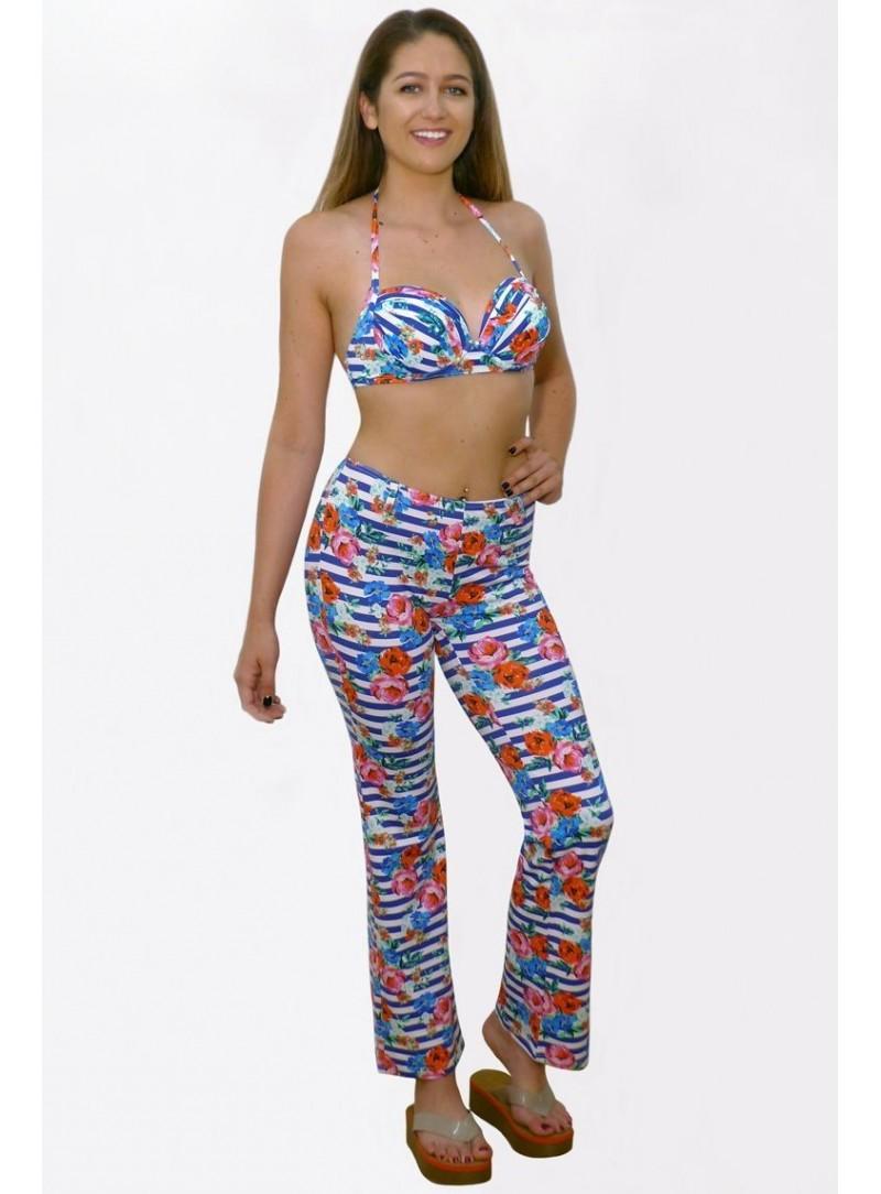 Pantalon confortable  Kim - Rayé Fleur