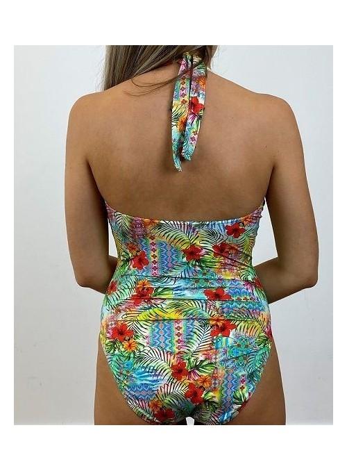 Maillot 1 pièce avec couture sous poitrine, sans armatures, Chicago Imprimé Flower