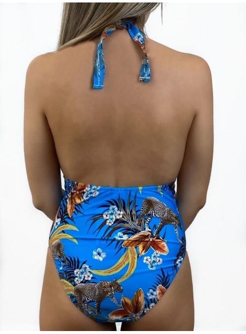 Maillot 1 pièce avec couture sous poitrine, sans armatures, Chicago Imprimé Guépard