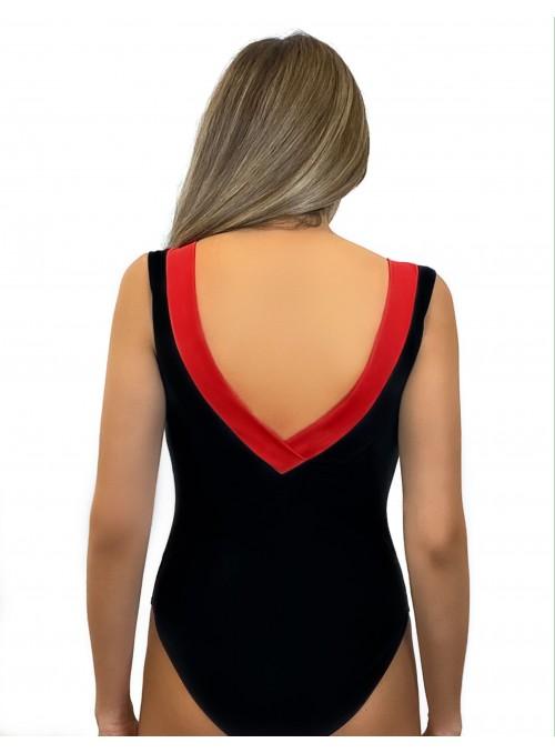 Maillot 1 pièce bicolore Artique - noir et Rouge