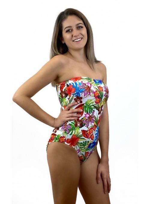 Bustier Miami - Imprimé Orchidée - Taille unique, maillot de bain 1 pièce