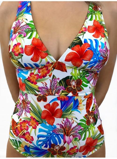 Maillot 1 pièce bicolore avec bonnet - St Domingue imprimé Orchidée